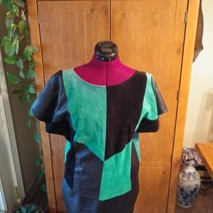 Tops - York Leather & Suede Geometrical Top